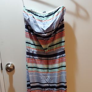 Strapless striped maxi dress with built-in shelf